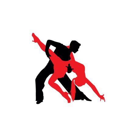 Latin dancers silhouettes on the white background. Archivio Fotografico - 140256599