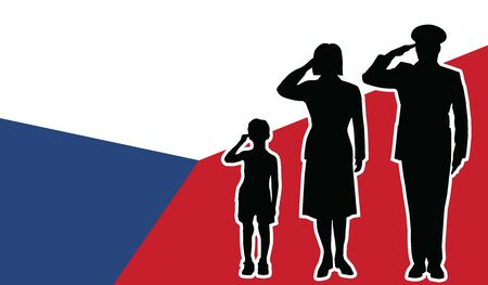 Czech Republic soldier family salute patriot background. 向量圖像