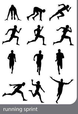 Running sprint man on white backgrounds