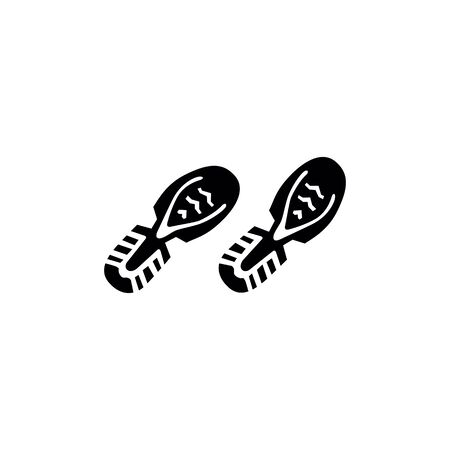 shoes footprints on the white background.