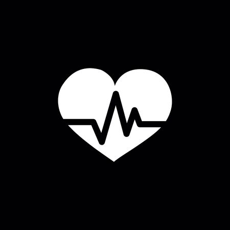 heart pulse icon on black background.