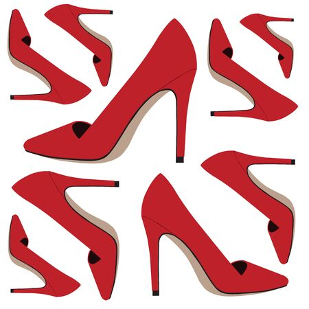 Red shoes pattern on white backgrounds.