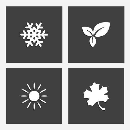 illustration of seasons on gray backgrounds.