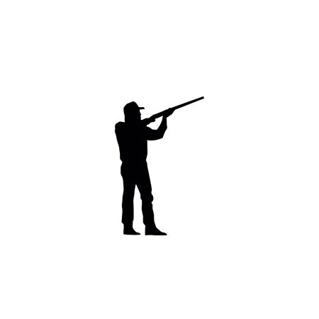 hunting silhouettes, black on the white background.