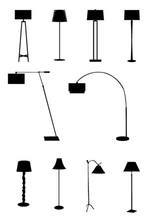 Floor lamps on the black background.