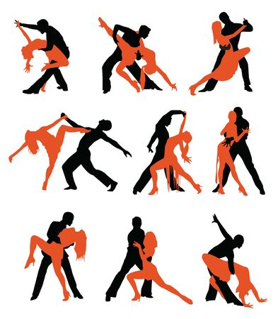 Latin dancers silhouettes on the white background.