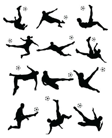 soccer, football player super kick on white background. Stock Illustratie