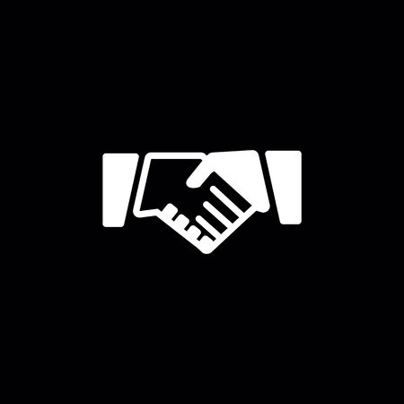 Handshake icon on the black background.