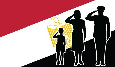 Egypt Republic soldier family salute patriot background.