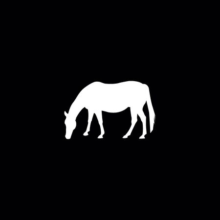 Horse silhouette on the black background.