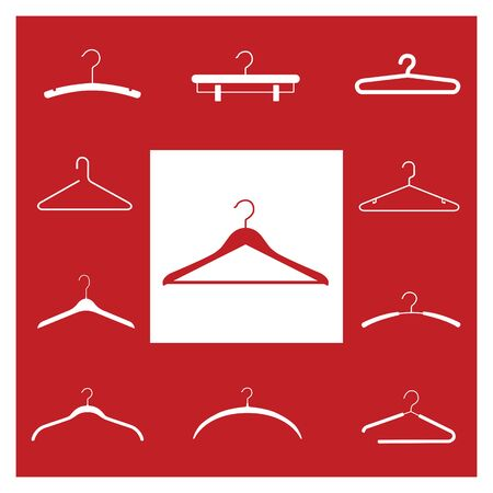Clothes hangers red on the white background.