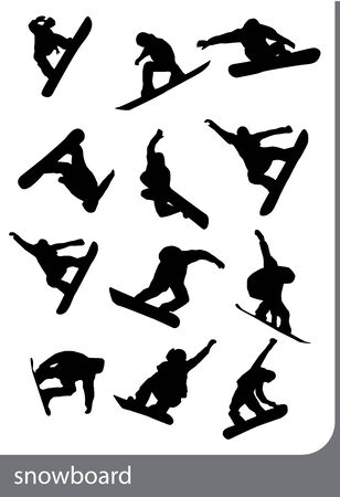 snowboard silhouettes, black on the white background. Illustration