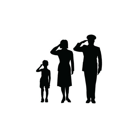 Soldier family salute Illustration