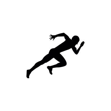 Running sprint man on white backgrounds.