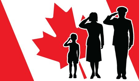 Canada soldier family salute 向量圖像