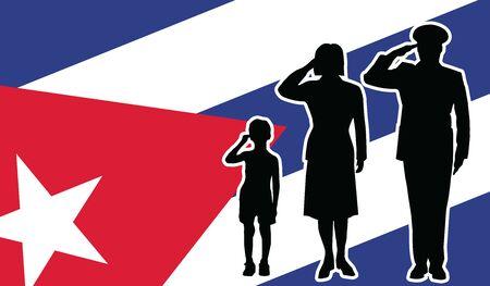 Cuba soldier family salute