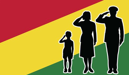 bolivia soldier family salute patriot background.