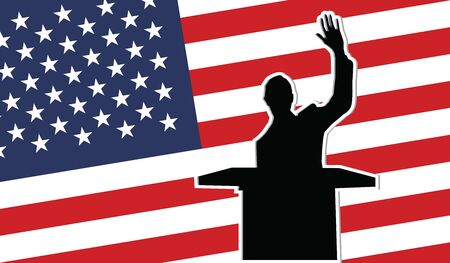 USA president black silhouette on the USA flag background. 向量圖像