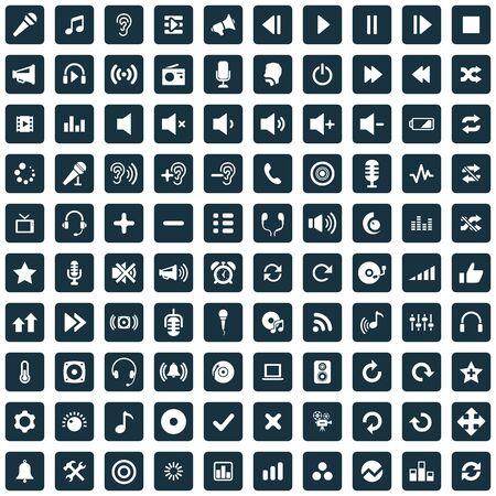 100 audio icons Banque d'images - 140529621