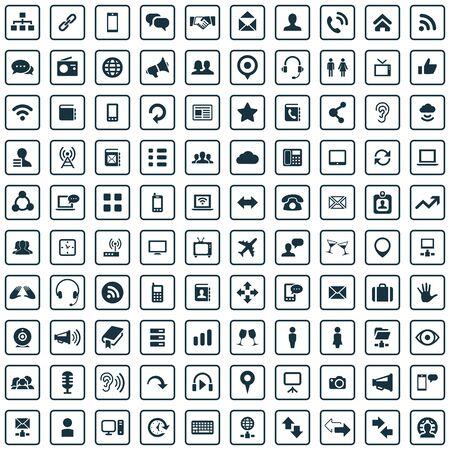 100 communication icons Ilustracje wektorowe