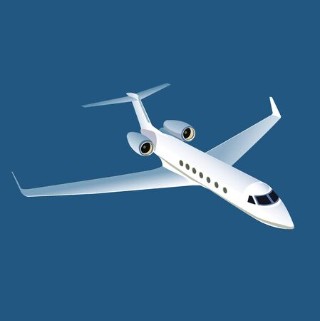 White airplane illustration on blue background. Иллюстрация