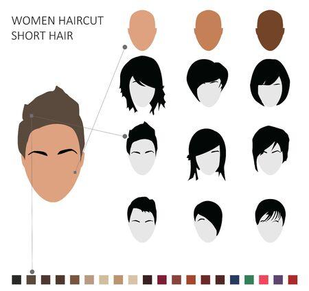 Women haircut styles, short hair on the white background. Standard-Bild - 140468611