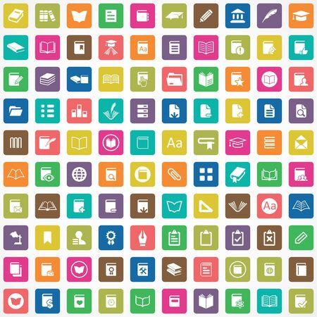 100 books icons big universal set. 向量圖像
