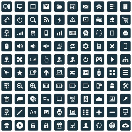 100 computer icons big universal set. Banque d'images - 140528769