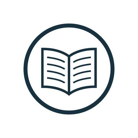 book icon, round shape, isolated on white background.
