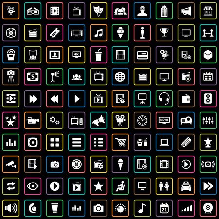 100 cinema icons big universal set.