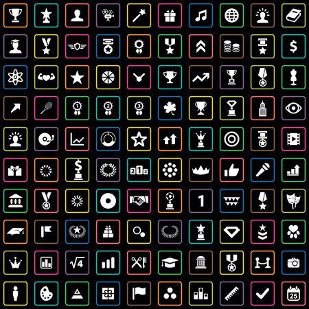 100 award icons big universal set.