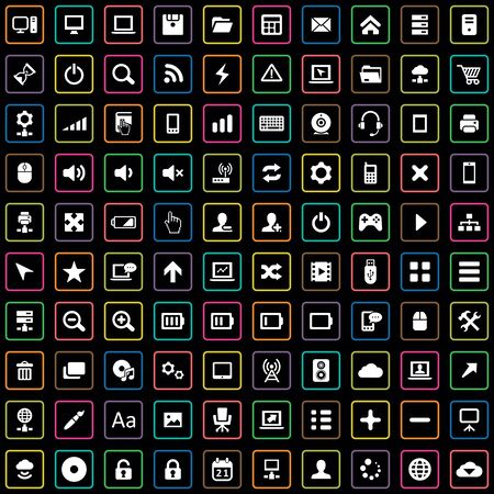 100 computer icons big universal set. Banque d'images - 140528961