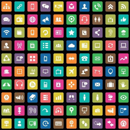 100 communication icons big universal set.