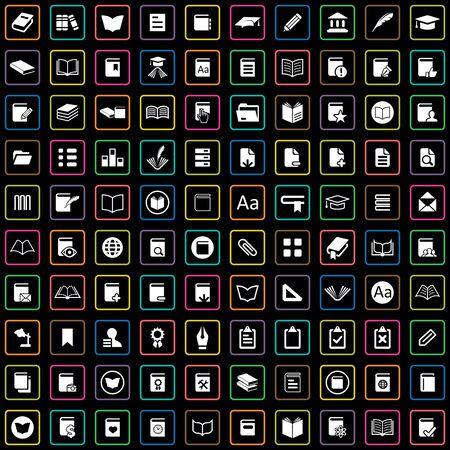 100 books icons 向量圖像