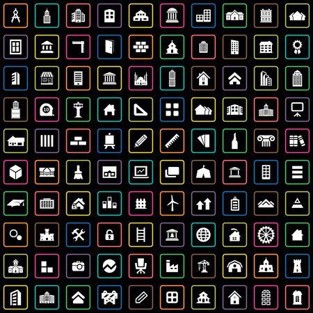 100 architecture icons big universal set.