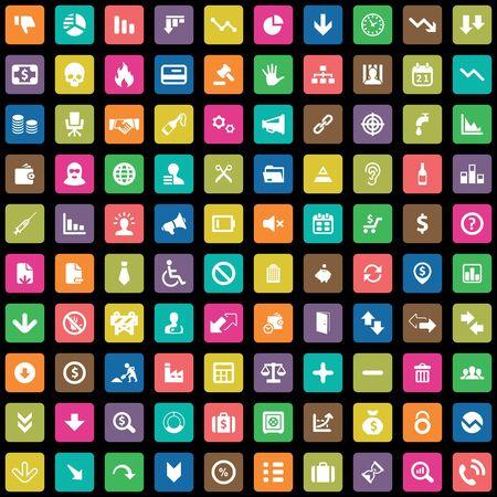 100 crisis icons big universal set. 向量圖像