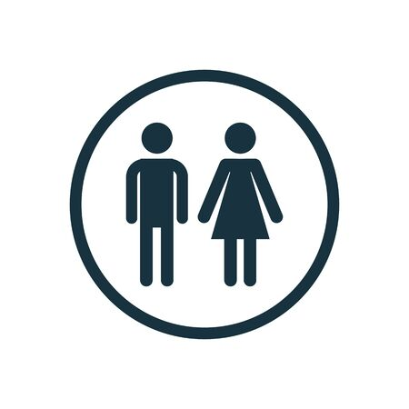girl and boy icon on white background. 向量圖像