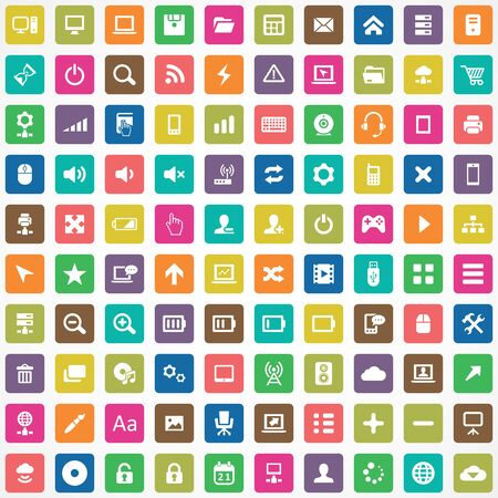 100 computer icons Banque d'images - 140529500
