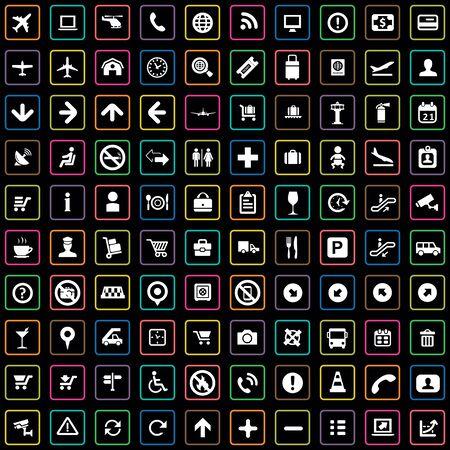 100 airport icons Ilustración de vector