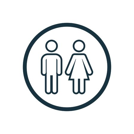 girl and boy icon on white background. Иллюстрация