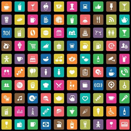 100 cafe icons big universal set.