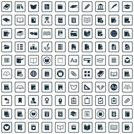 100 books icons.