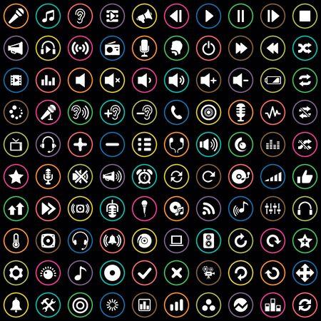 100 audio icons Banque d'images - 140542764