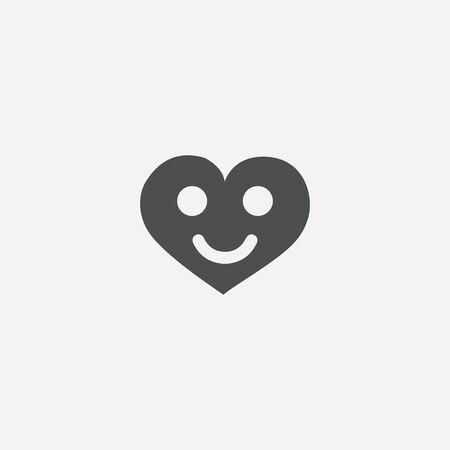 heart smile icon, isolated, white background
