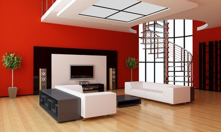 interior drawing: Modern interior of a room Stock Photo
