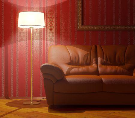 Sofa and floor lamp Stock Photo
