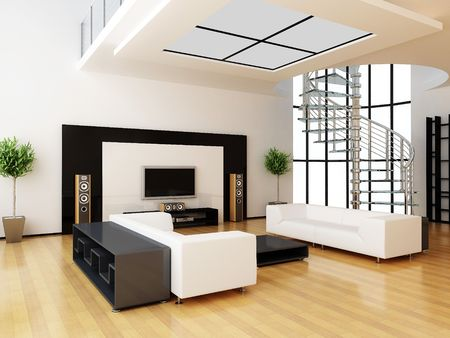 spacious: Modern interior of a drawing room