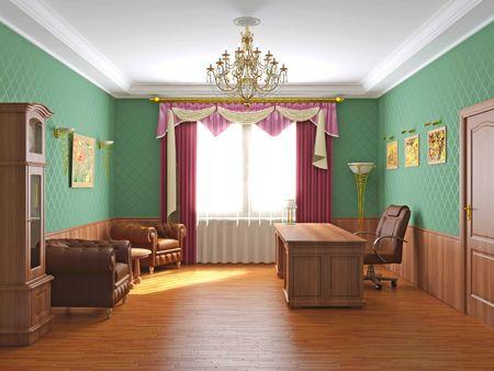 cortinas: Interior de la Oficina  Foto de archivo