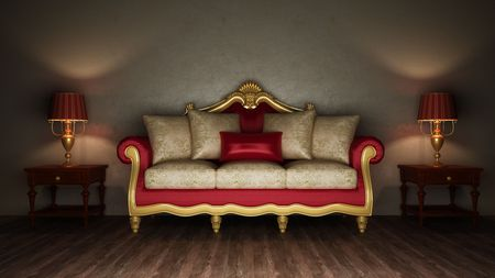 baroque room: Classical sofa and two desk lamps