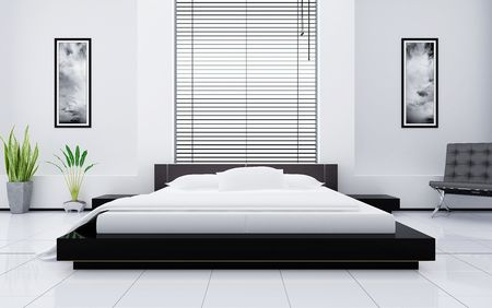 Modern interior of a bedroom photo